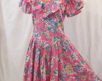 LAURA ASHLEY classic floral dress - pink cotton princess - full skirt - ruffle sz M/L