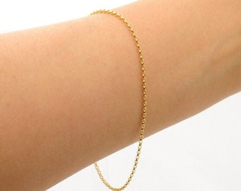 Gold-filled: Delicate Gold  Bracelet, Perfect Layering Bracelet,  dainty and feminine, Minimum Jewelry,  rolo chain, everyday jewelry