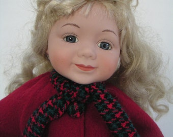 Vintage Doll,Porcelain Doll Dress In Red and Green Plaid and Red Jacket,Winter,Winter Doll