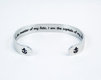 "Encouragement / Awareness / Courage / Graduation ""I am the master of my fate, I am the captain of my soul"" 3/8"" hidden message cuff bracelet"
