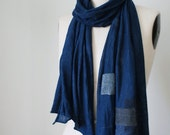 Sheer linen patch bandage scarf