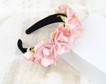 Pastel pink flower crown - goth fairy - flowers - floral headband