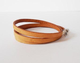 natural leather wrap, unisex triple wrap bracelet, modern, minimalist, rocker style, mens leather bracelet, gift for him, gift for her