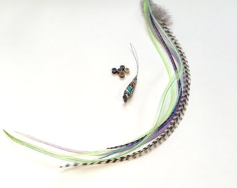 Feather hair extension kit: 5 natural bonded thin pastel, wispy rooster feathers with 5 hair crimps and hair threader. Pastel and grizzly.
