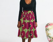 African print pleated skirt (purple+green)