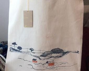 Cornish inspired, original screenprinted tote bag