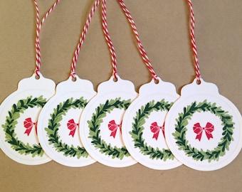 Christmas Tags - Holiday Tags - Christmas Gift Tag Set - Present Tags - Christmas Favor Tags - Merry Christmas Hang Tags - Wreath Gift Tags