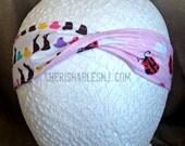 Easter Candy Headband - Valentine's Day Reversible Headband - Elastic Band - Holiday - Teacher Gift - Ladybugs - OOAK - Ready to Ship