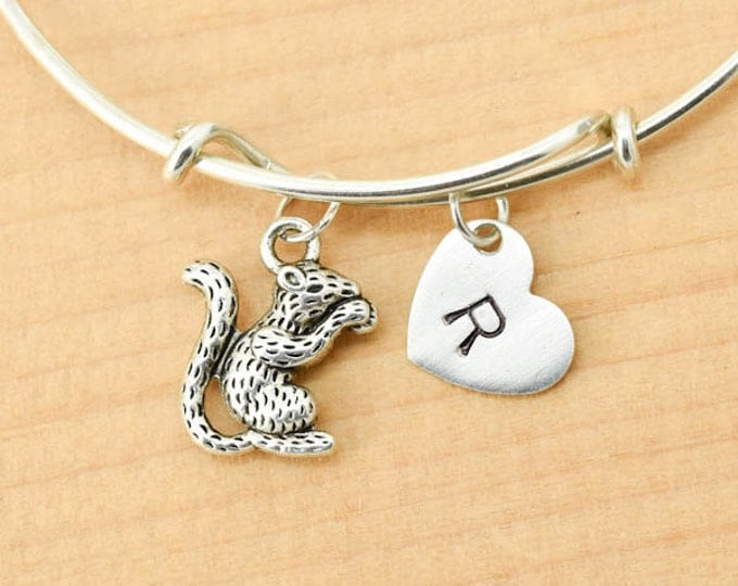 Squirrel Bangle, Sterling Silver Bangle, Squirrel Bracelet, Bridesmaid Gift, Personalized Bracelet, Charm Bangle, Initial Bracelet