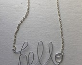sale PERSONALIZED HELLO NECKLACE in Silver Cursive/Adele Fan