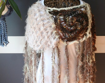 Crochet Capelet,Knit Shawl,Crochet Shaw,Collar,Wrap,Poncho,Hippie Clothes,Boho Chic,One Size,Womens Clothing,Brown,Tan,Fringe,Unique,OOAK