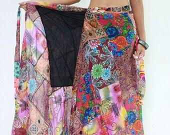 Skirt SDB672N Thailand Cotton Patchwork Lagenlook Festival Carnival Wrap Long Sarong Boho Gypsy Hippie Sun Casual