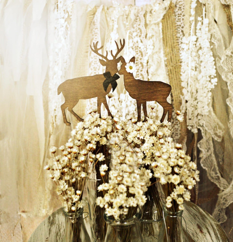 deer cake topper hunting themed weddings buck doe bride and