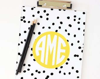 Clipboard Monogram School Supplies Lucite Desk Accessories College Graduation Gifts Sorority Clipboard Cute Office Supplies Black and Yellow