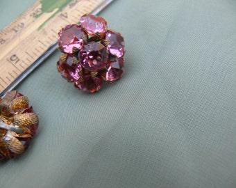 pink glass cluster screw back earrings