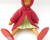 Vintage Wooden Red Riding Hood Doll Poland