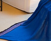 vintage hand knitted cobalt blue winter throw