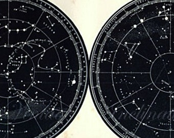 Antique STAR MAP The Constellations Round The Poles vintage star map Astronomy star chart dark blue stars chart
