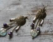 Victorian Heart Earrings Long Bohemian Purple Mint Green Romantic Pearls
