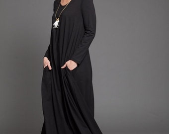 winter sale Black maxi dress - women dress with long sleeves - oversize black winter maxi dress - oversize black dress - casual dress - vale