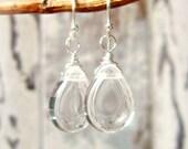 Clear Glass Drop Earrings. Sterling Silver Wrapped Glass Dangle Earrings. Clear Glass Earrings. Clear Glass Jewelry. Clear Crystal Earrings