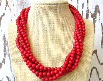 Red Turquoise Necklace. Five Strand Red Howlite Necklace. Red Howlite Jewelry. Adjustable Statement Necklace.Red Jewelry. Bridesmaid Jewelry