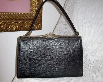 Vintage 1950s Ladies Black Leather Kelly Handbag Purse Only 12 USD