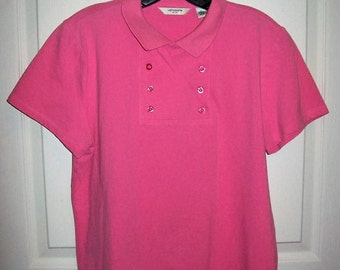 Vintage Ladies Pink Polo Shirt by Liz Claiborne Extra Large Only 5 USD