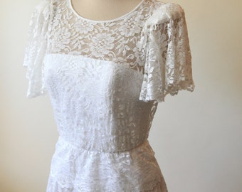 Peplum Lace Wedding Dress | Vintage Wedding Dress | Lace Wedding Dress | Bohemian Wedding Dress | Dessy Creations White Lace Peplum Dress