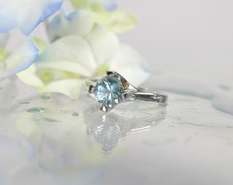 Natural Aquamarine Ring, Aquamarine Ring, Sterling Silver Aquamarine Ring, Natural Aquamarine, Solitaire Ring