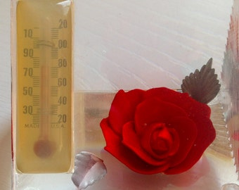 Vintage Lucite Red Rose Desk Thermometer
