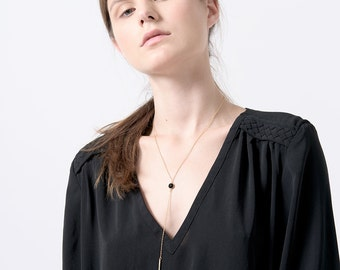 Y Necklace, Gold Bar Drop Y Necklace, Delicate Layering Necklace, Gold & Black