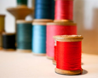 Twelve Wooden Spools of Thread Collection