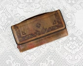 Vintage 1930s/40s Tooled Leather Deco Clutch