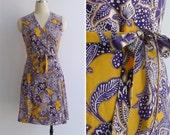 Vintage 80's 'Batik Beauty' Yellow & Purple Print Cotton Wrap Dress S
