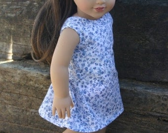 Blue and white floral sundress with matching shoes  made to fit your 18 inch american girl or similar doll .