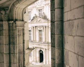 Architecture Print, Castle Photograph, Cream Decor, Photos Of France, Window Photography, Rustic Building, Stone Wall Photo, Fine Art Print