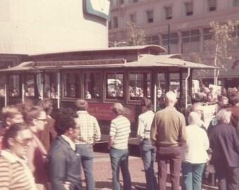 Vintage Snapshot San Francisco Cable Car Union Square Nob Hill California Borderless Print Found Photo