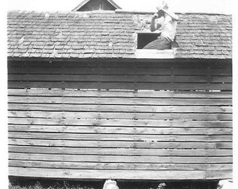 "Vintage Snapshot ""Skylight Photographer"" Dueling Cameras Boy On Roof Found Vernacular Photo"
