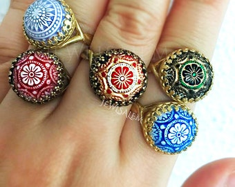 Boho Ring Statement Ring Stacking Ring Adjustable Ring Gift Blue Ring Red Ring Black Ring Gold Ring Brass Ring Silver Ring T1