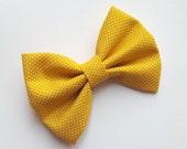 Mustard hair bow- fall modern fabric hair clip for baby girls