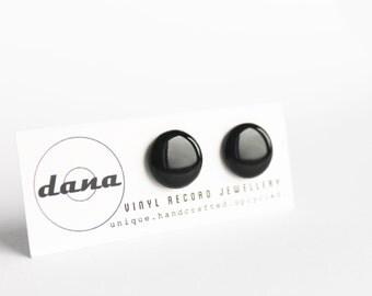 black studs black post earrings vinyl record jewelry 14 mm upcycled black stud earrings black earrings minimal ear posts resin jewellery