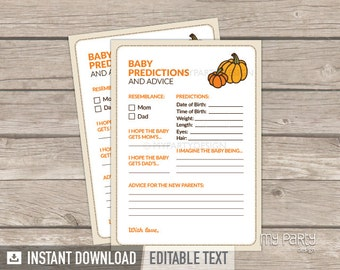 Baby Predictions and Advice Card - Little Pumpkin Baby Shower - Fall Baby Shower Game - INSTANT DOWNLOAD - Printable PDF with Editable Text