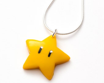 Super Mario Invincibility Star necklace - nintendo, supermario, mario star pendant, yellow star, gaming, video games