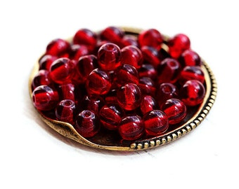 5mm Dark Red Czech glass beads, Round spacers, druk, pressed beads - 40Pc - 0468
