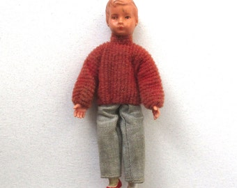 1960s Dollhouse People, Boy, rubber doll house figure, poseable toy people, red sweater, 4 inch tall, bendable