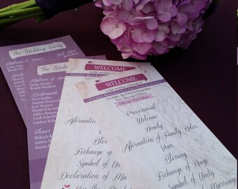 "Rustic Tree Sketch Purple and Mauve Ceremony Programs, Flat 4x8"" Double-Sided Linen Paper, Set of 50"