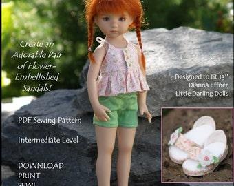"Sweet Sandals-LD  PDF sewing pattern for 13"" Effner Little Darling dolls"