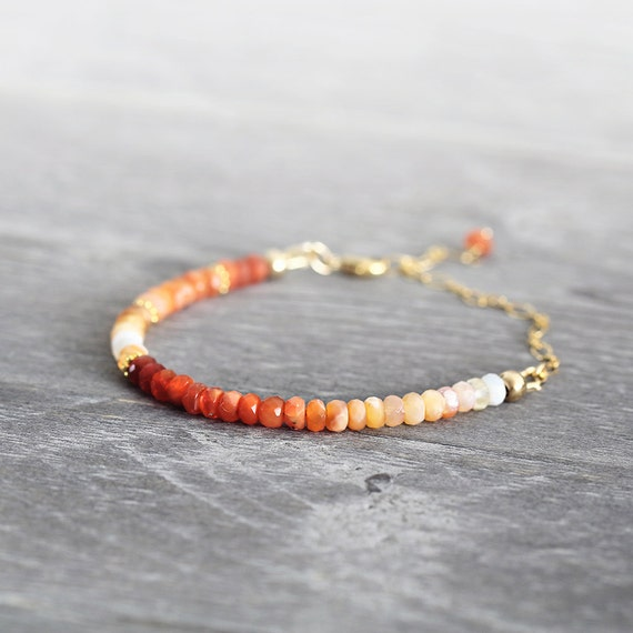 Fire Opal Bracelet - Ombre Bracelet - October Birthstone Bracelet - Red Orange Gold Colorful Bracelet For Her - Autumn Jewelry For Her