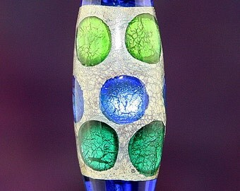 Silver Stepping Stones Handmade Lampworked Glass Bead OOAK Barrel Focal Cobalt Blue Teal Green Stone Silver Lampwork